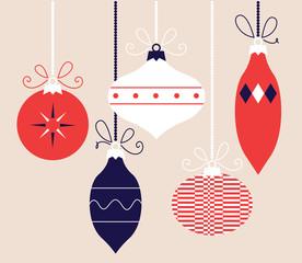 Colorful retro Christmas balls collection, vector