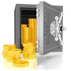 goldene Münzen im Tresor - versteckter Schatz, Reichtum