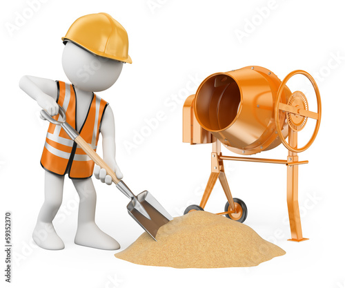 3D white people. Construction worker with a shovel and a concret