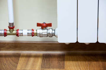 Pipelines with shutt of valve with central heating radiator
