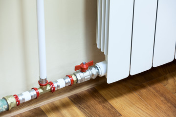 New installed domestic central heating register with valve