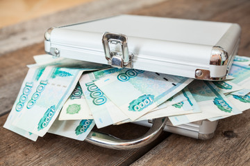 Closed steel case with Russian rubles inside