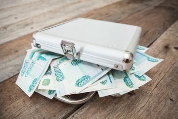 Steel case with Russian rubles inside