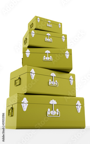 Green travel suite cases concept isolated