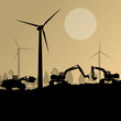 Wind electricity generators with excavator loaders in countrysid