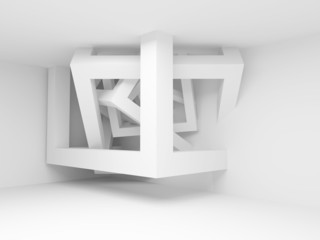 White room interior with abstract construction of 3d cubes