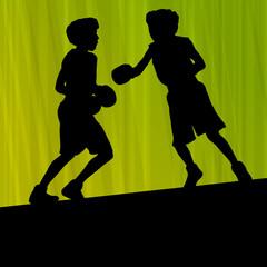 Boxing active young men box sport silhouettes vector abstract ba