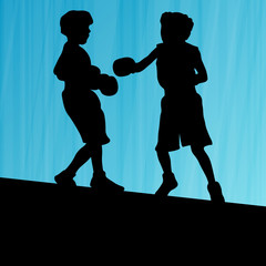 Boxing active young children box sport silhouettes vector abstra