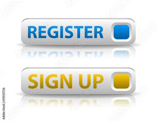 vector blue register and yellow sign up button