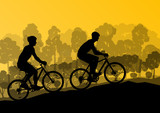 Active cyclists bicycle riders in wild forest nature landscape b