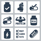 Vector isolated sport supplements icons set