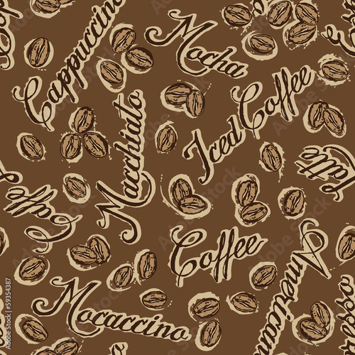 Coffee beans, vector seamless pattern