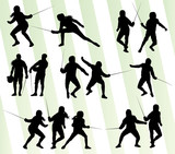 Fencing sport silhouette vector background set