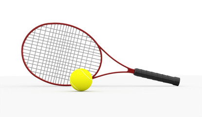 Red tennis racket with ball isolated