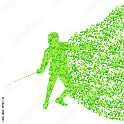 Fencing man sport silhouette vector background concept made of f