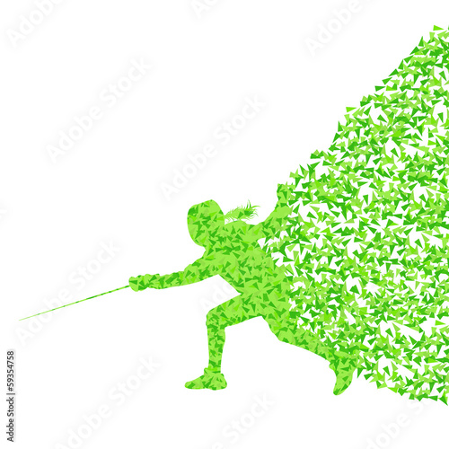 Fencing woman sport silhouette vector background concept made of