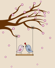Card san Valentin. birds in love