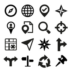 Map, GPS and Navigation icons set.