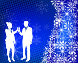 young couple raising toast on the abstract background - vector