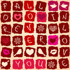 Love greeting card or seamless pattern
