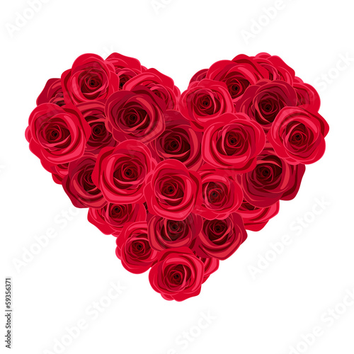 Heart of red roses. Vector illustration.