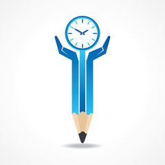 Save time concept with pencil hands stock vector