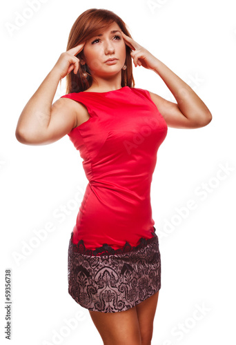 young woman under stress headache migraine pain isolated on whit