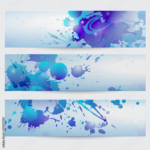 Set of abstract vector banners. Headers with grunge splashes. EP
