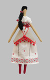 FS-Handmade isolated doll girl in Ukrainian folk style dress