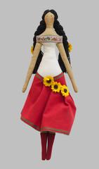 FS-Handmade isolated doll girl in Ukrainian folk style dress