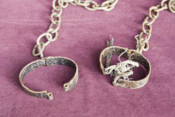 Ancient medieval handcuffs