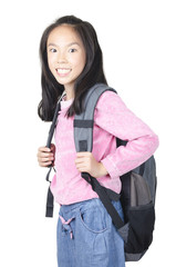 Smiling  student woman standing with backpack