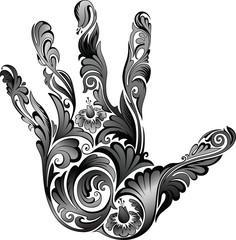 Flower ornament in the form of a palm B&W