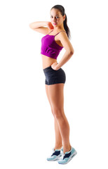 Young sporty girl isolated