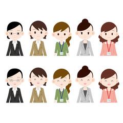 働く女性 五人 真顔と笑顔