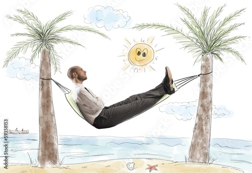 Success and relax of a businessman