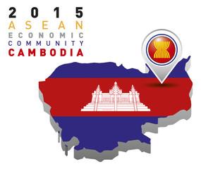Cambodia Map Flag AEC