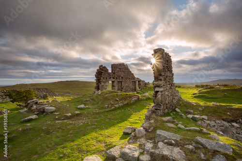 Foggintor Quarry ruins Dartmoor Devon Uk