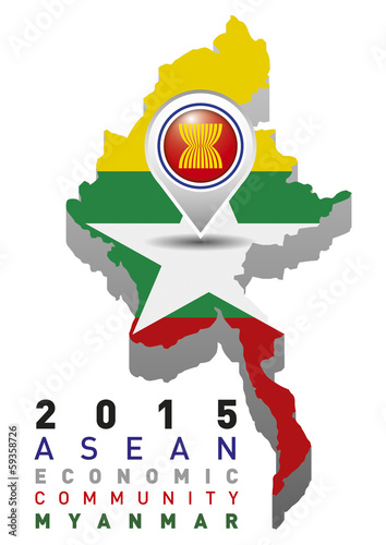 Myanmar Map Flag AEC