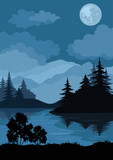 Fototapety Landscape, trees, moon and mountains