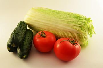 tomato, cabbage, cucumber
