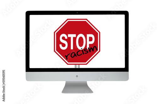 Racism stop sign. Modern computer