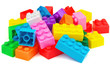 Plastic colorful toy blocks on white background - 59360762