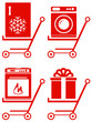 set red home appliance on shoping cart