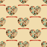 Hipster Love Colorful Seamless Pattern