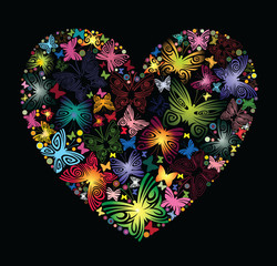 Heart of flowers and butterflies