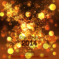 New Year 2014 .Flyer Template. Vector