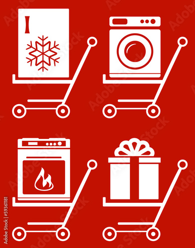 set shopping cart with home appliance on red background