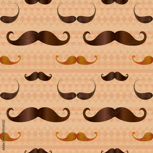 Hipster Mustache on Geometric Seamless Pattern