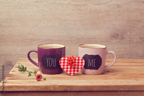 Couple of tea cups with chalkboard stickers
